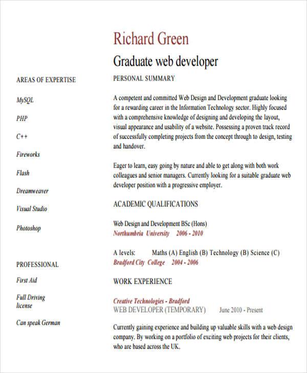 web developer resume sample doc
