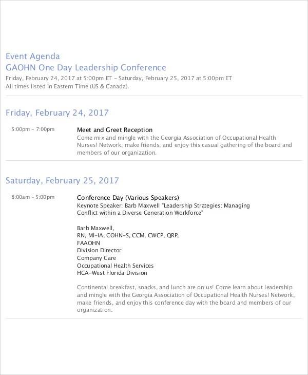 phairzios agendas with times - event agendas