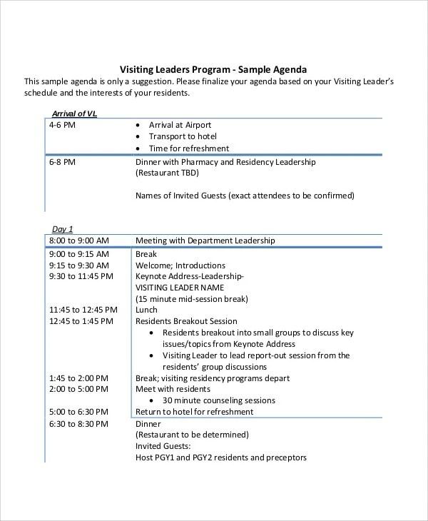 10+ Leadership Agenda Samples - Free Sample, Example Format Download