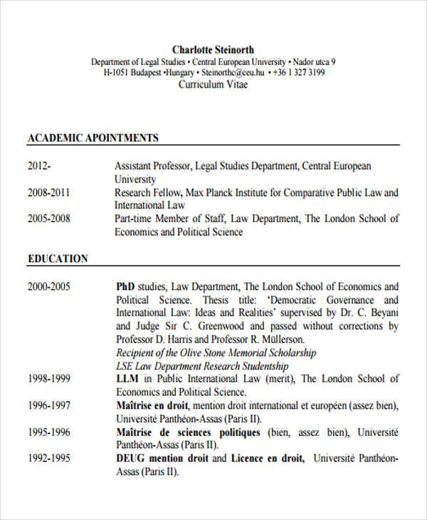 10+ Legal Curriculum Vitae Templates - PDF, DOC Free  Premium