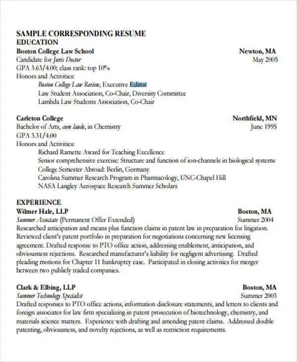10+ Sample Legal Resume Templates - PDF, DOC Free  Premium Templates
