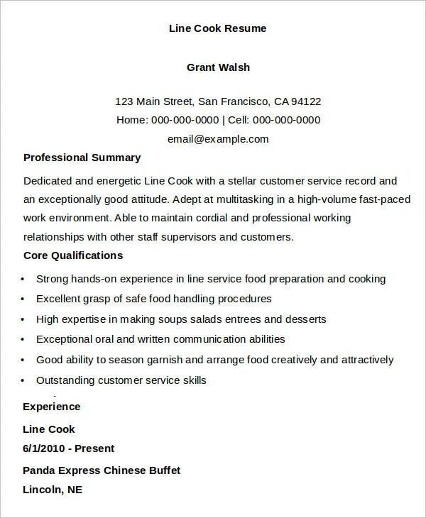 cook resume - Onwebioinnovate