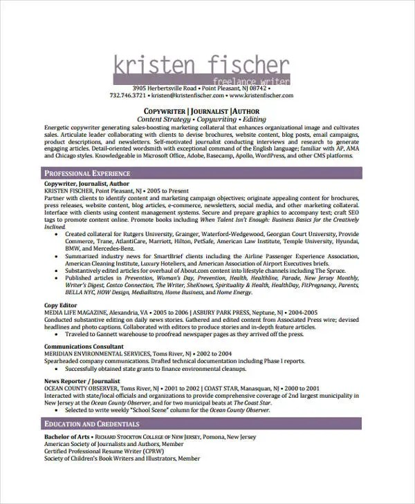 journalist resume - Holaklonec - news reporter resume