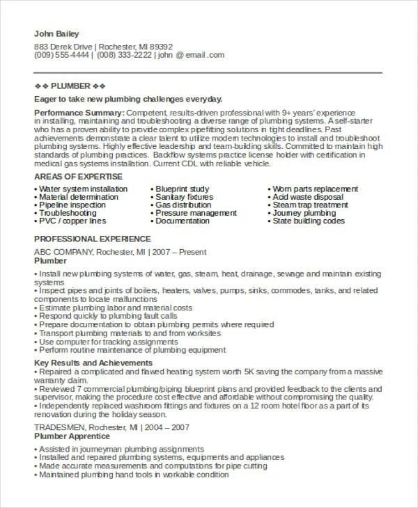 9+ Sample Plumber Resume Templates - PDF, DOC Free  Premium Templates - Plumber Resume Template