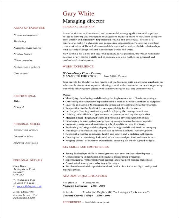 cv for managing director - Canasbergdorfbib