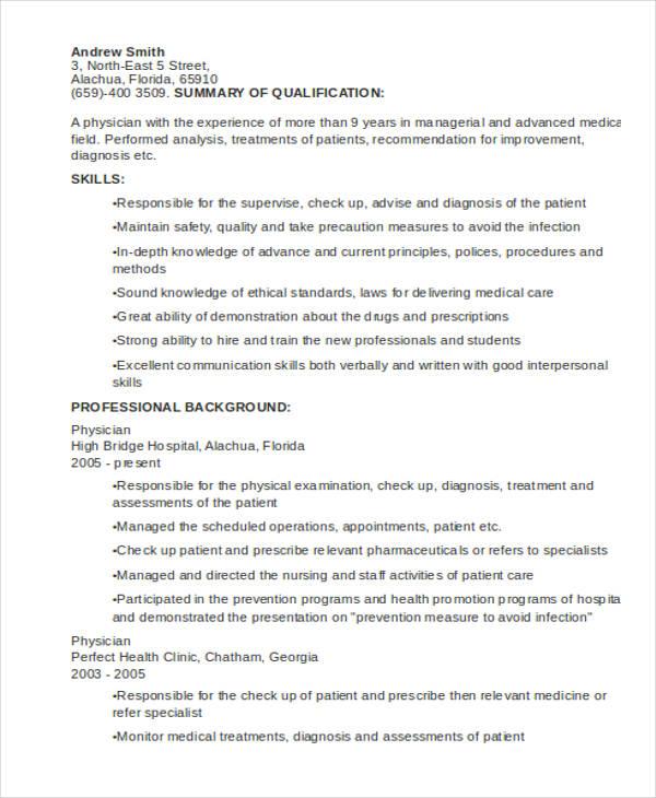 10+ Sample Medical Curriculum Vitae Templates - PDF, DOC Free - medical cv template