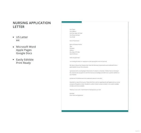 10+ Job Application Letters For Nurse - Free Sample, Example Format