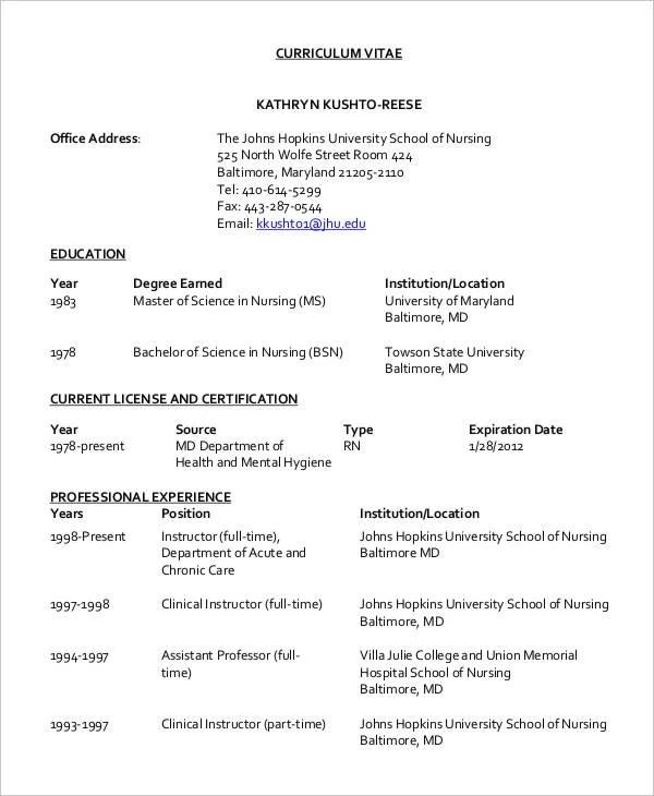 8+ Nursing Curriculum Vitae Templates - Free Word, PDF Format - nurse cv template