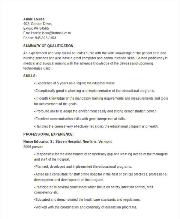10+ Teaching Resume Templates - PDF, DOC Free  Premium Templates - nursing instructor resume