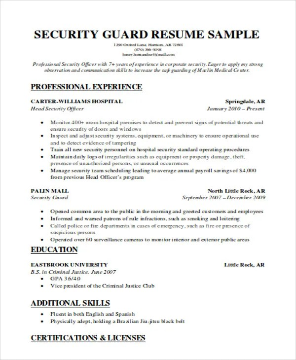 Security Guard Resumes - 10+ Free Word, PDF Format Download Free - security guards resume
