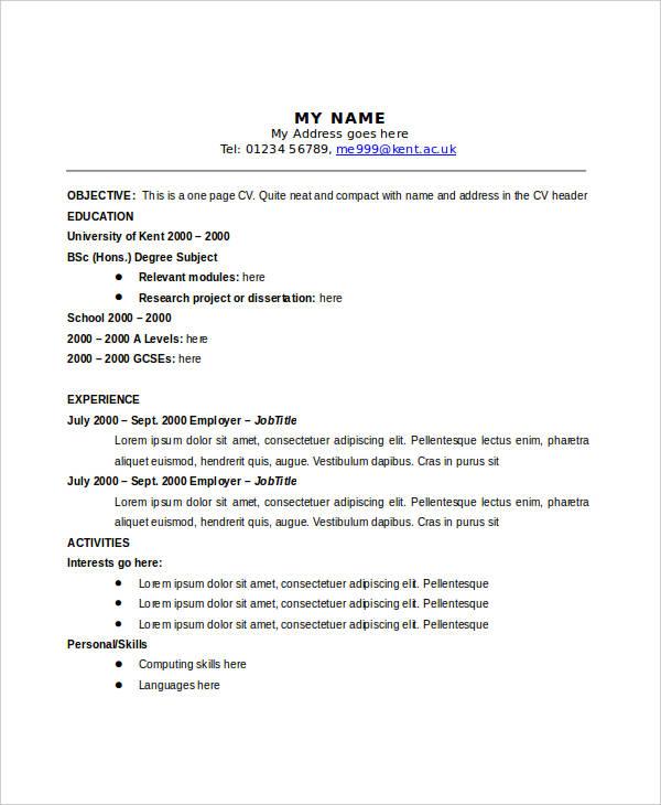 28+ Curriculum Vitae Templates - PDF, DOC Free  Premium Templates - cv one
