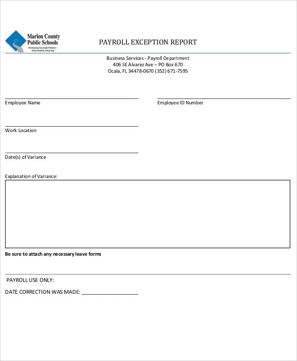 14+ Exception Report Templates - Free Sample, Example Format - payroll report template