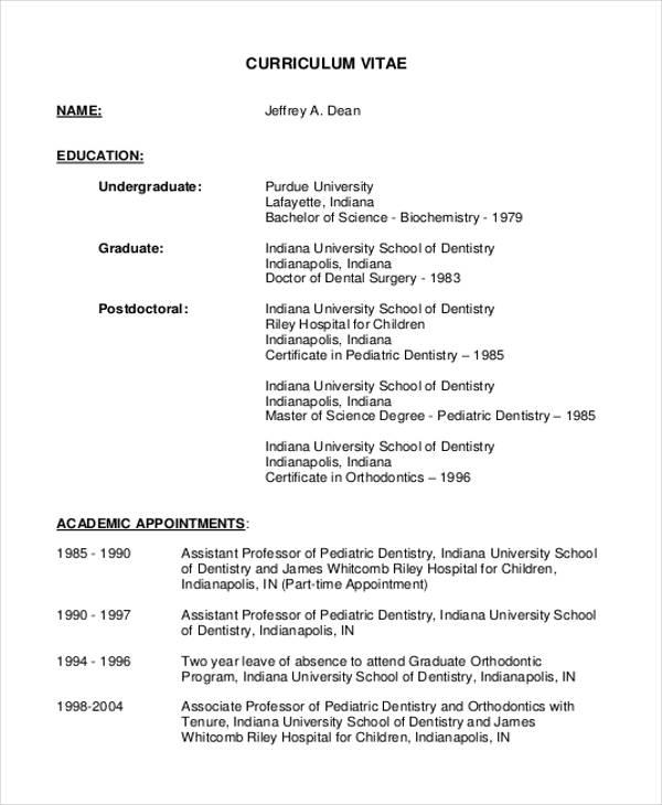 Dentist Curriculum Vitae Templates - 8+ Free Word, PDF Format