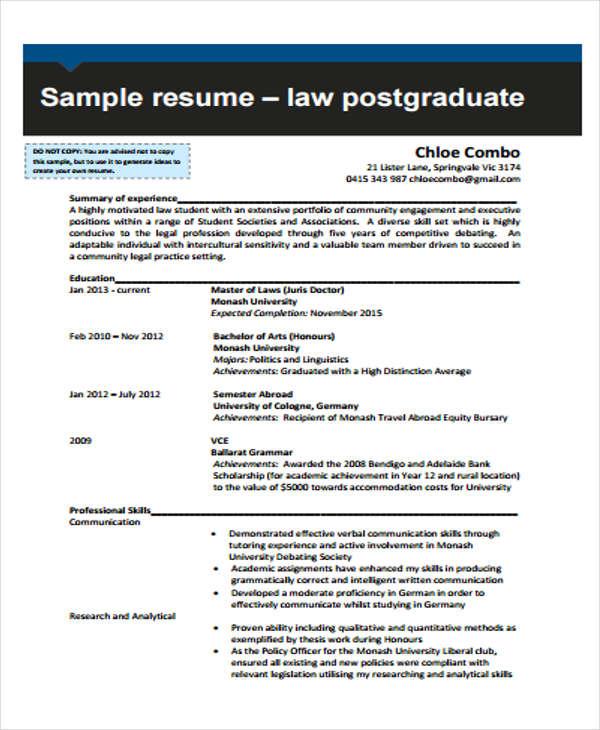 resume format of law graduate