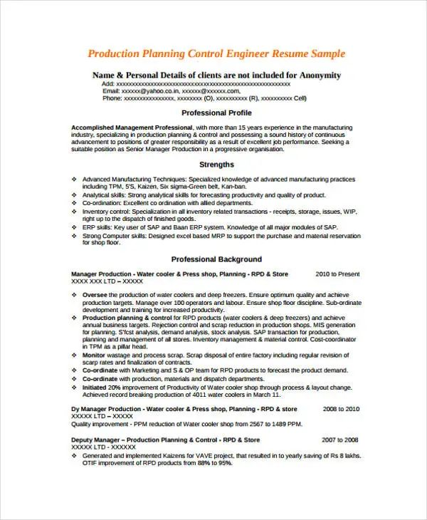 production planning and control engineer resume samples