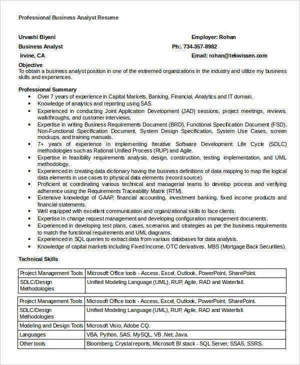15+ Simple Business Resume Templates - PDF, DOC Free  Premium - Sharepoint Business Analyst Sample Resume