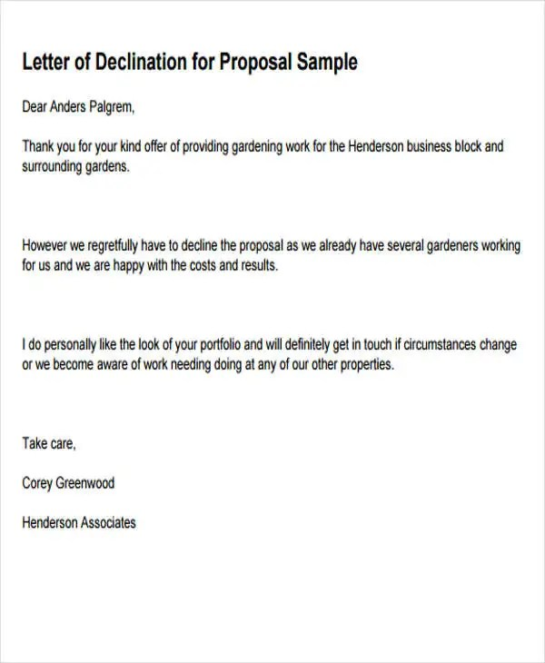8+ Business Rejection Letters - Free Sample, Example Format Download