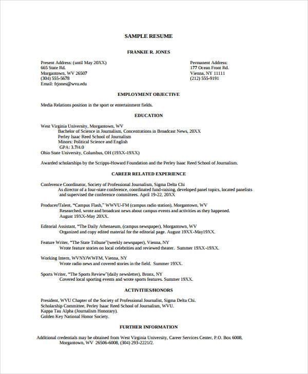 wvu resume template