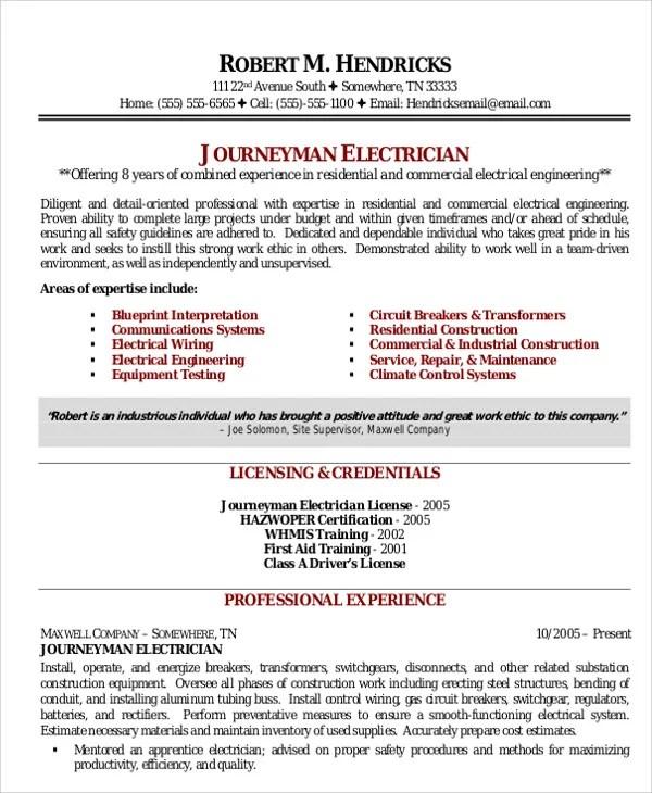 Journeyman Electrician Resume Examples Electrical Engineer Resume - electrician resume template
