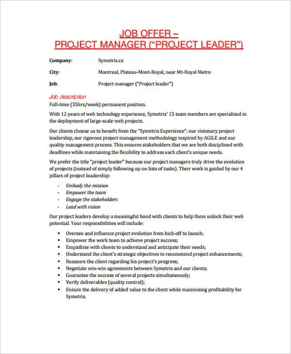 25+ Job Offer Letter Example Free  Premium Templates - offer letters