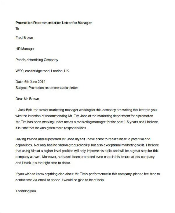 recommendation letter for promotion - Onwebioinnovate