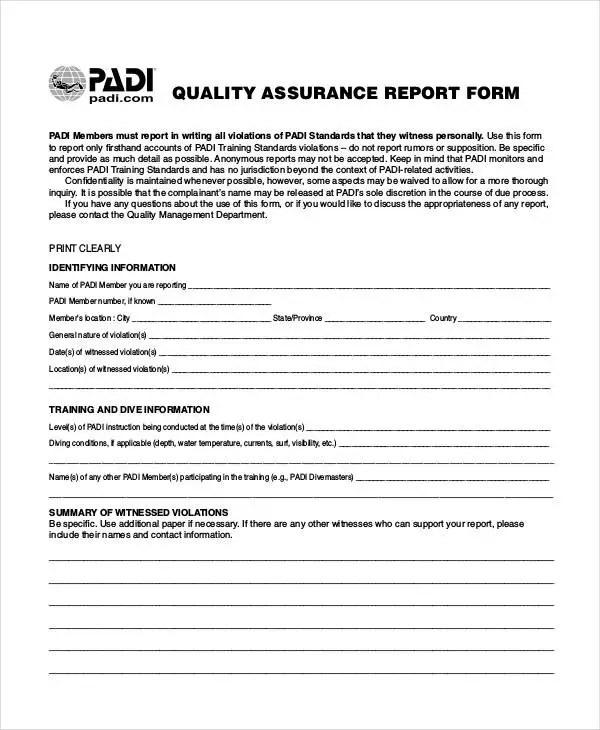 13+ Quality Report Templates - Free PDF Format Download Free - quality assurance form template