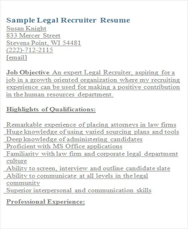 Extracurricular Activities Resume Examples Legal Resumes - 7+ Free Word, Pdf Format Download | Free