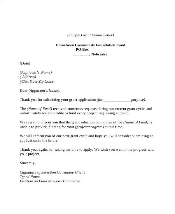 6+ Grant Rejection Letters - Free Sample, Example Format Download - sample grant applications