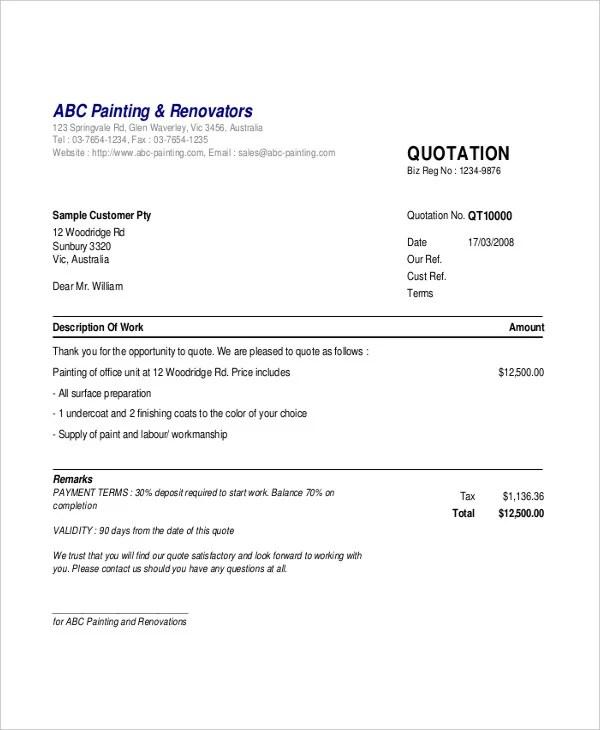 20+ Quotation Samples - PDF Free  Premium Templates - quotation sample