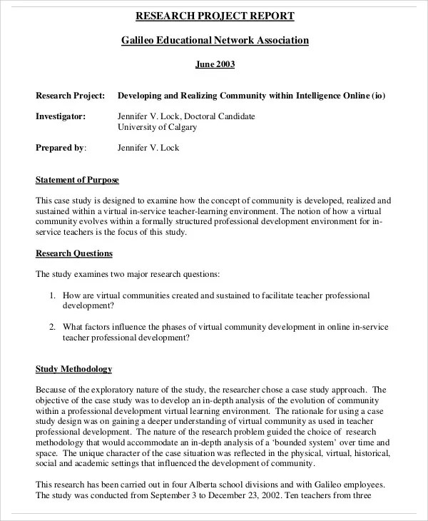 10+ Research Report Templates - Free Sample, Example Format - research project report