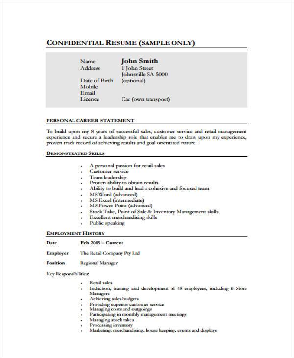 10+ Management Resume Templates - PDF, DOC Free  Premium Templates - retail management resume sample