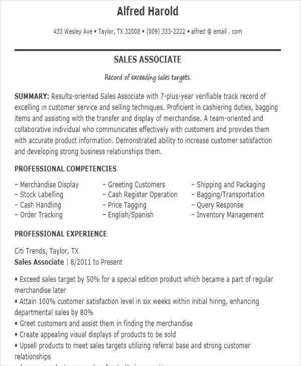 free resume templates for sales associate