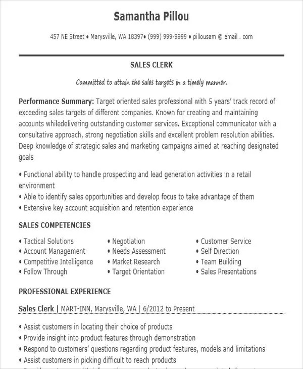 10+ Sample Sales Job Resume Templates - PDF, DOC Free  Premium - sales clerk resume