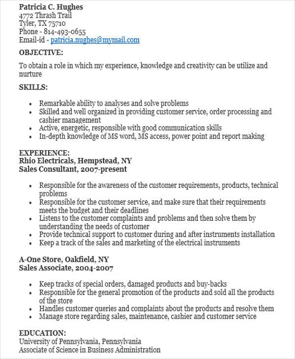 10+ Sample Sales Job Resume Templates - PDF, DOC Free  Premium