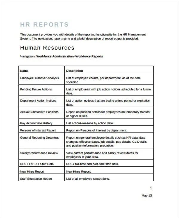 14 + Sample HR Report Templates-PDF, Word, Google Docs, Apple Pages