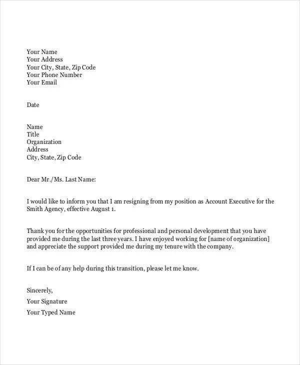 Resignation Letter Template Professional | Sample Company Profile