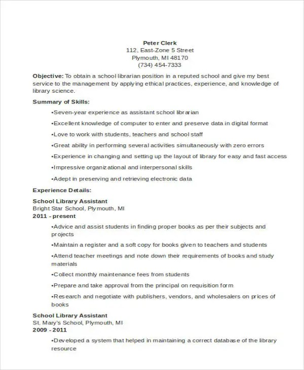 9+ Librarian Resume Templates - Free Sample, Example Format Download - School Library Assistant Sample Resume