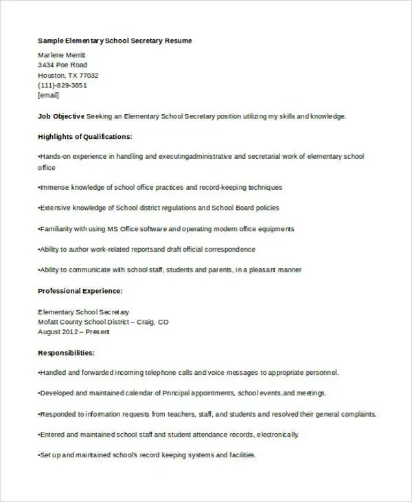 10+ Secretary Resume Templates - Free Sample, Example Format - secretary qualifications resume