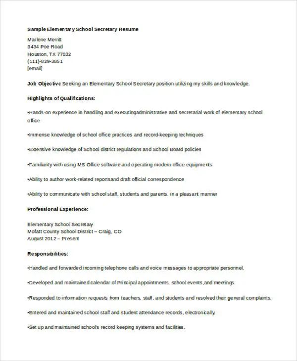 example of resume for medical school