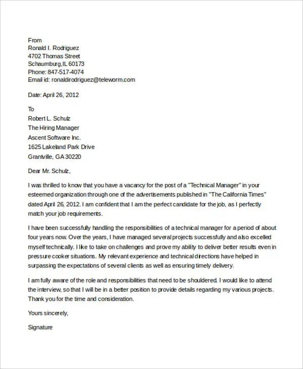 7+ IT Manager Cover Letter - Free Sample, Example Format Download - It Cover Letters