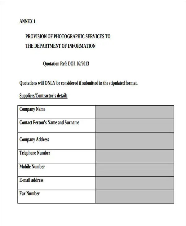 Service Quotation Templates - 7+ Free Word, PDF Format Download - service quote template