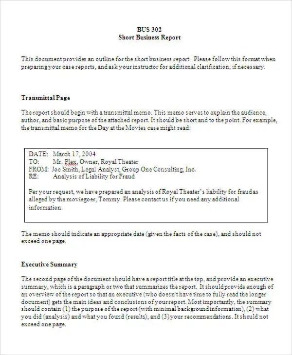 Format Of A Business Report   formats csat co     Report Samples In Doc   Free   Premium Templates