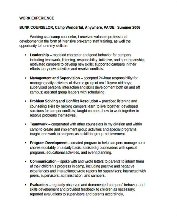 resume camp counselor - Ozilalmanoof - resume for camp counselor