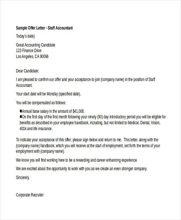 25+ Job Offer Letter Example Free  Premium Templates