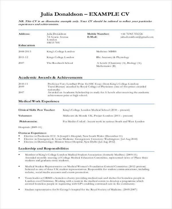 10+ Sample Medical Curriculum Vitae Templates - PDF, DOC Free - sample medical student resume