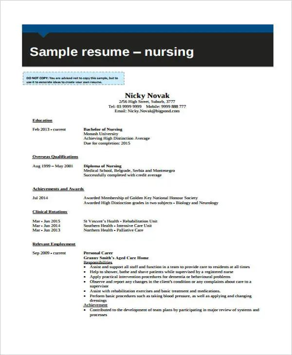 curriculum vitae nursing graduate school