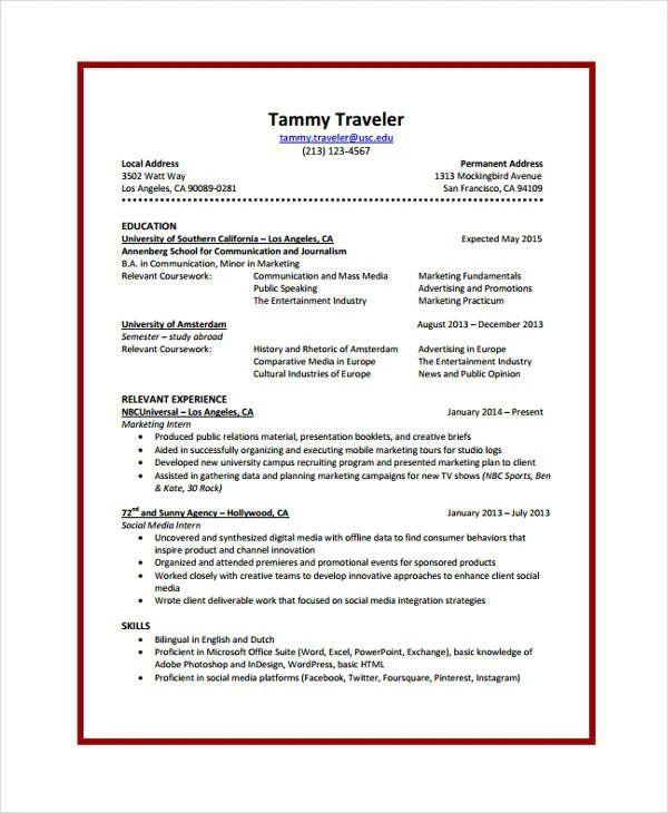resume template for student internship