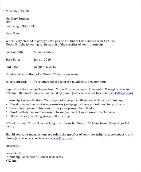 9+ Internship Appointment Letter Templates - Free Sample, Example