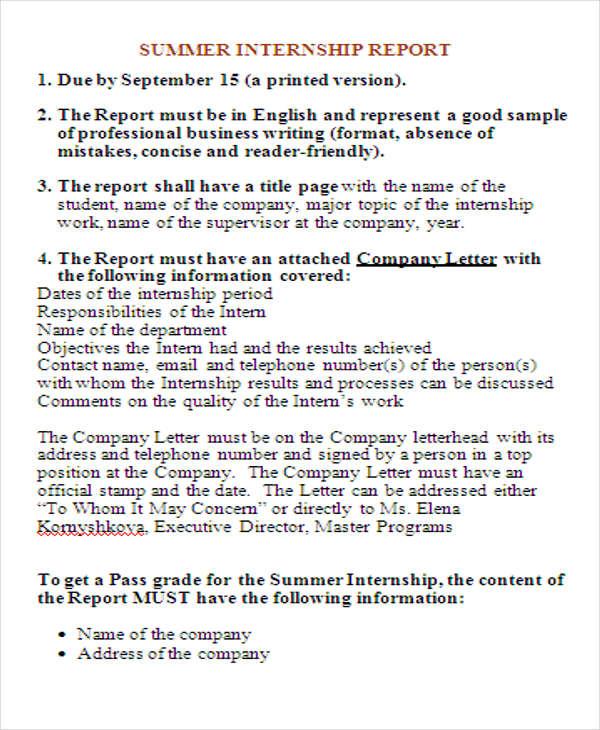 50+ Report Samples in Doc Free \ Premium Templates - sample internship report template