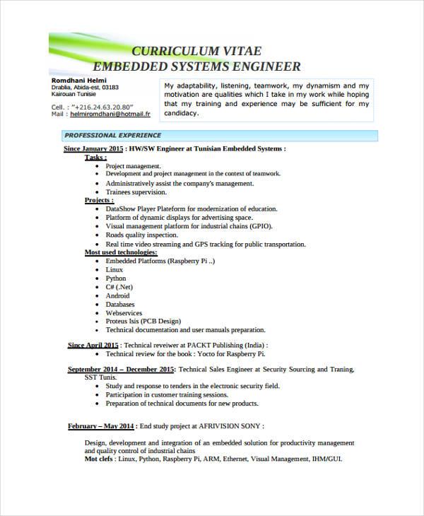 10+ Engineer Resume Samples - PDF, DOC Free  Premium Templates